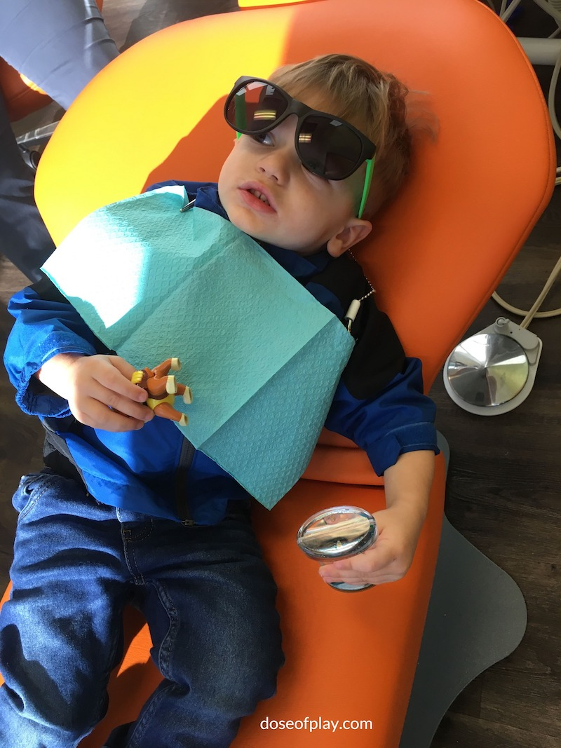 Toddler at dentist doseofplay